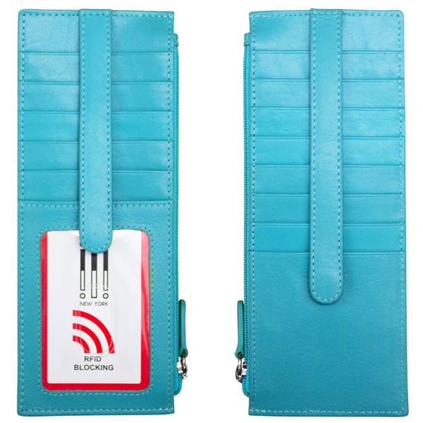 ILI 7800 RFID Credit Card Holder with Zip Pocket in Aegean Blue Leather at Mar-Lou Shoes