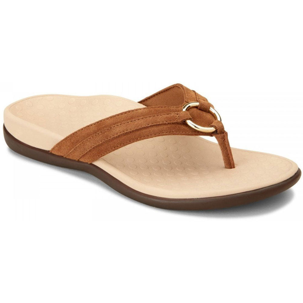 Tide Aloe Toe Post Sandal in Toffee Suede