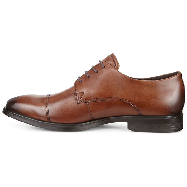 ECCO Melbourne Cap Toe Tie in Amber Leather at Mar-Lou Shoes
