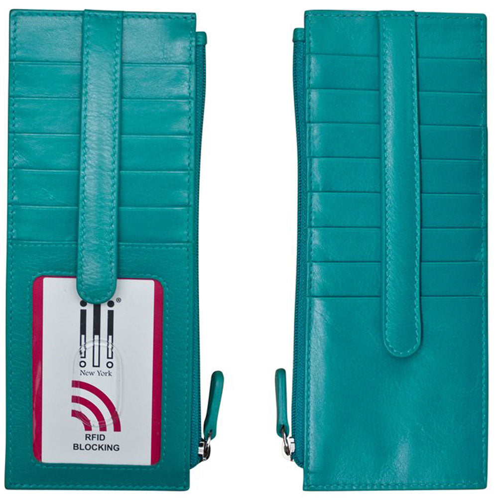 ILI 77800 RFID Credit Card Holder with Zip Pocket in Aqua Leather at Mar-Lou Shoes