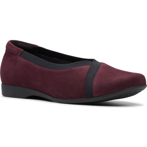 Clarks Un Darcey Ease in Aubergine Suede at Mar-Lou Shoes
