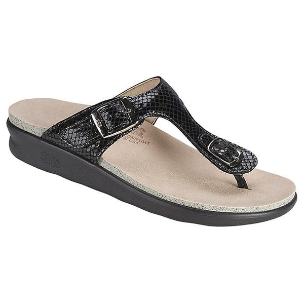 Sanibel Sandal in Black Snake
