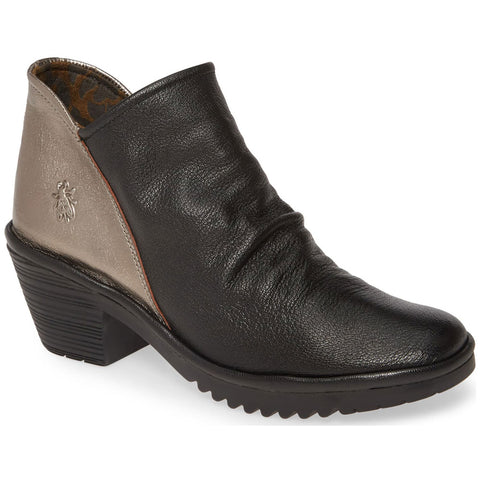 Fly London Wezo Booties in Black/Bronze at Mar-Lou Shoes