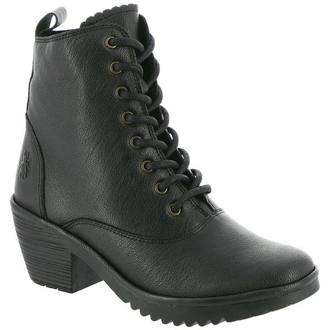 Fly London Wune Boot in Black Leather at Mar-Lou Shoes