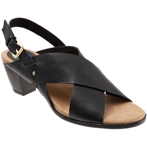 Trotters Michelle Slingback Sandal in Black Leather at Mar-Lou Shoes
