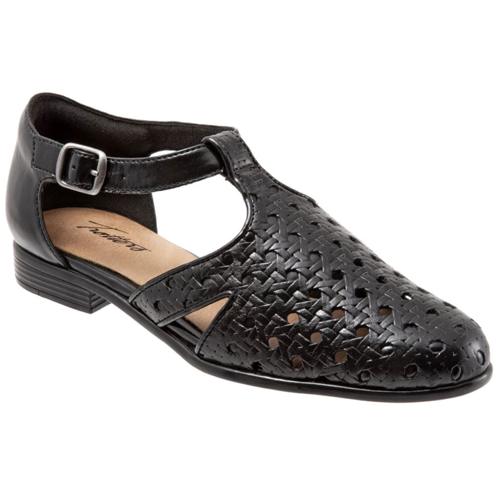 Leatha Open Weave Sandal in Black