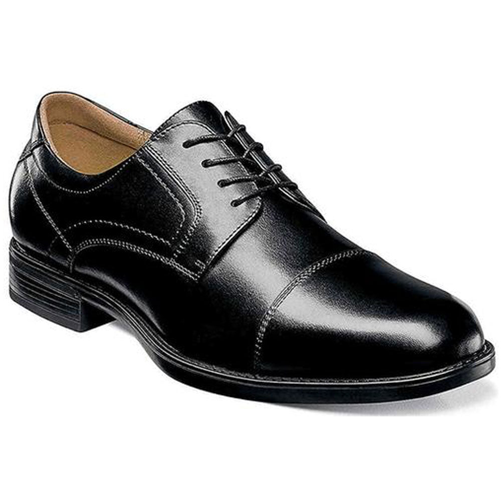 Midtown Cap Toe Oxford in Black Smooth Leather