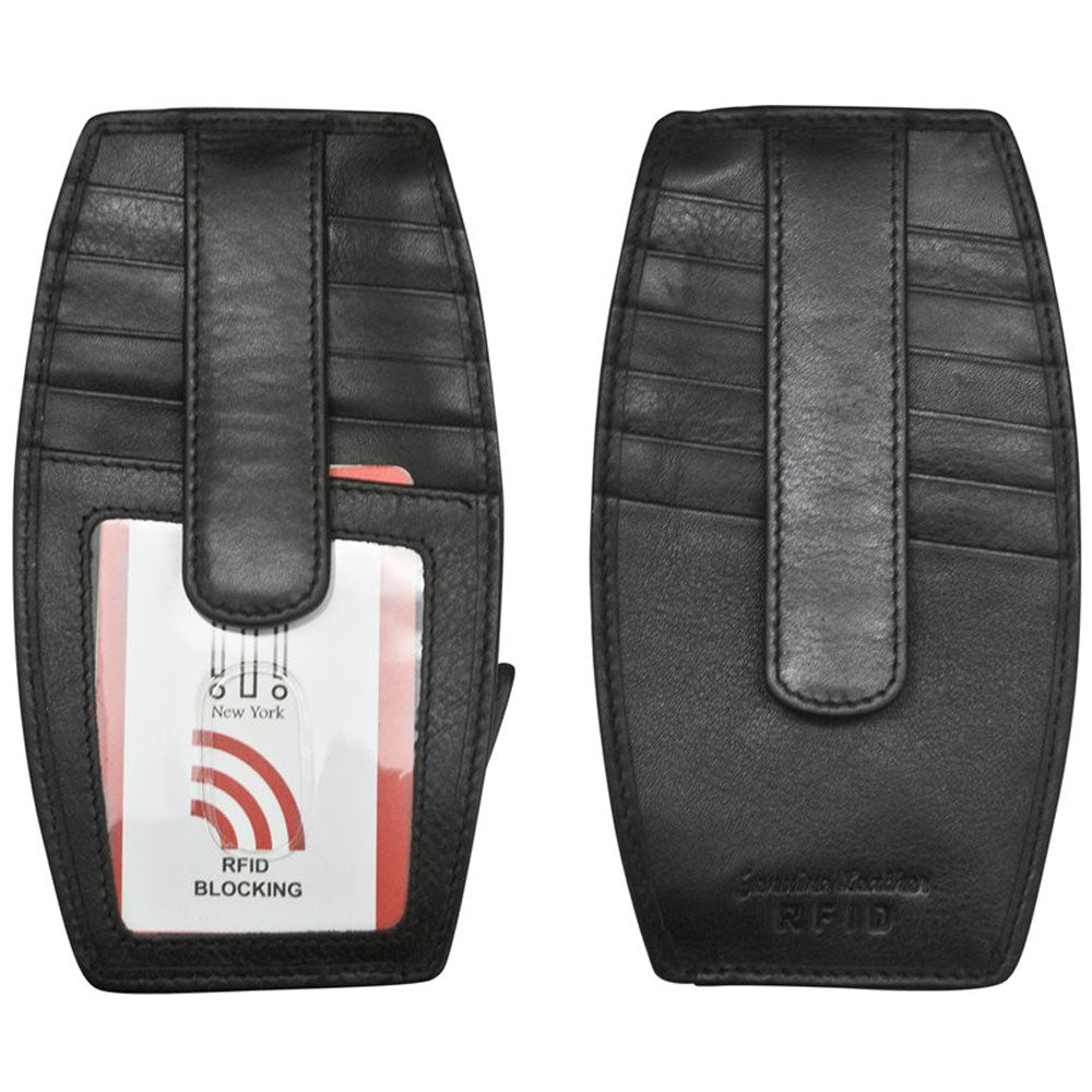 ILI New York 7804 RFID Card Holder and Change Purse in Black Leather at Mar-Lou Shoes