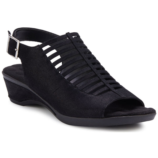 Walking Cradles Karina Wedge Sandal in Black Metallic Suede at Mar-Lou Shoes