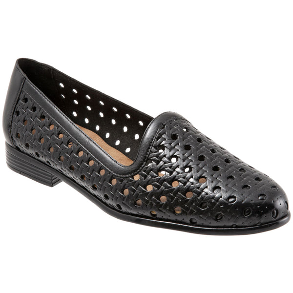 Trotters Liz Open Weave in Black Leather at Mar-Lou Shoes