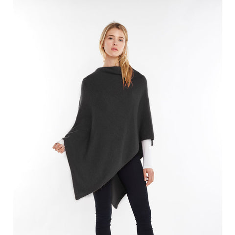 Look by M Basic Cashmere Blend Poncho in Black at Mar-Lou Shoes