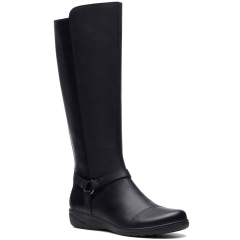 Clarks Cheyn Lindie Boot in Black Leather at Mar-Lou Shoes