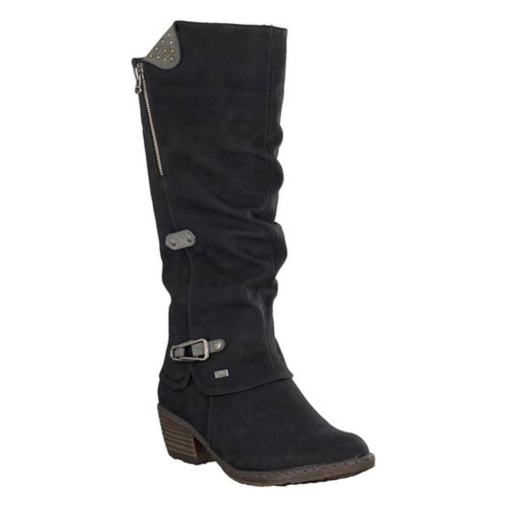 Rieker 93752 Water-Resistant Boot in Black at Mar-Lou Shoes
