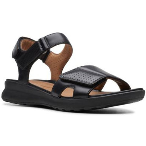 Un Adorn Calm Sandal in Black Leather