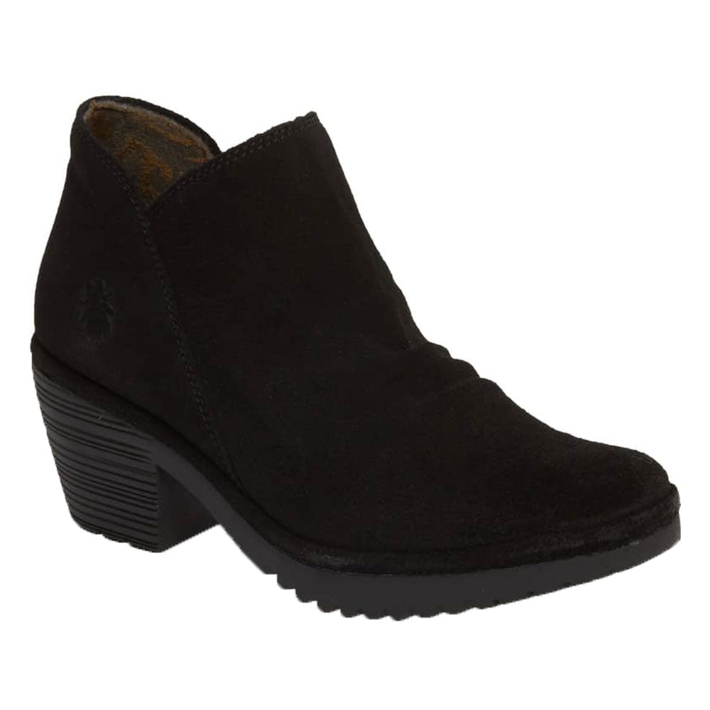 Fly London Wezo Booties in Black Oil Suede Found at Mar-Lou Shoes