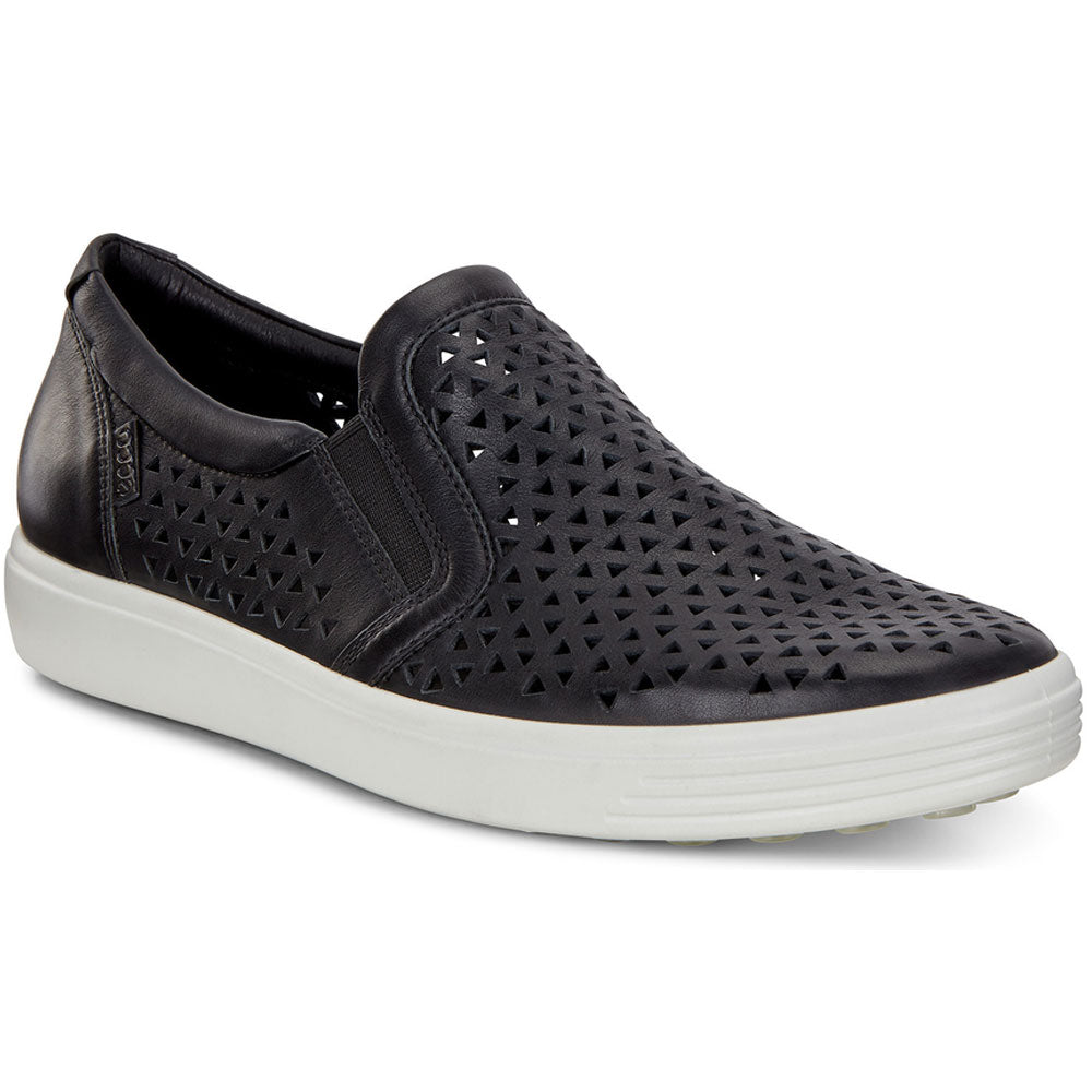 ECCO Soft 7 Laser Sneaker in Black Leather at Mar-Lou Shoes