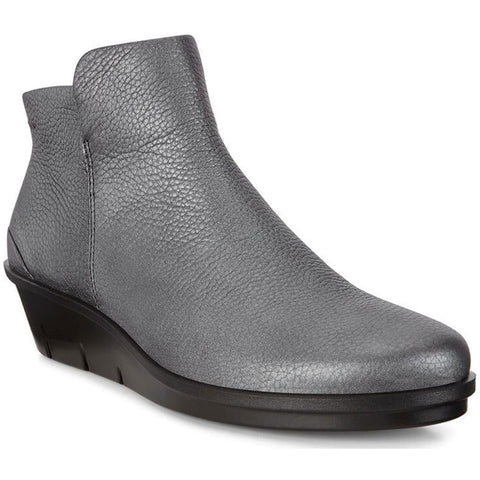 ECCO Skyler Wedge Bootie in Black/Dark Silver Leather at Mar-Lou Shoes