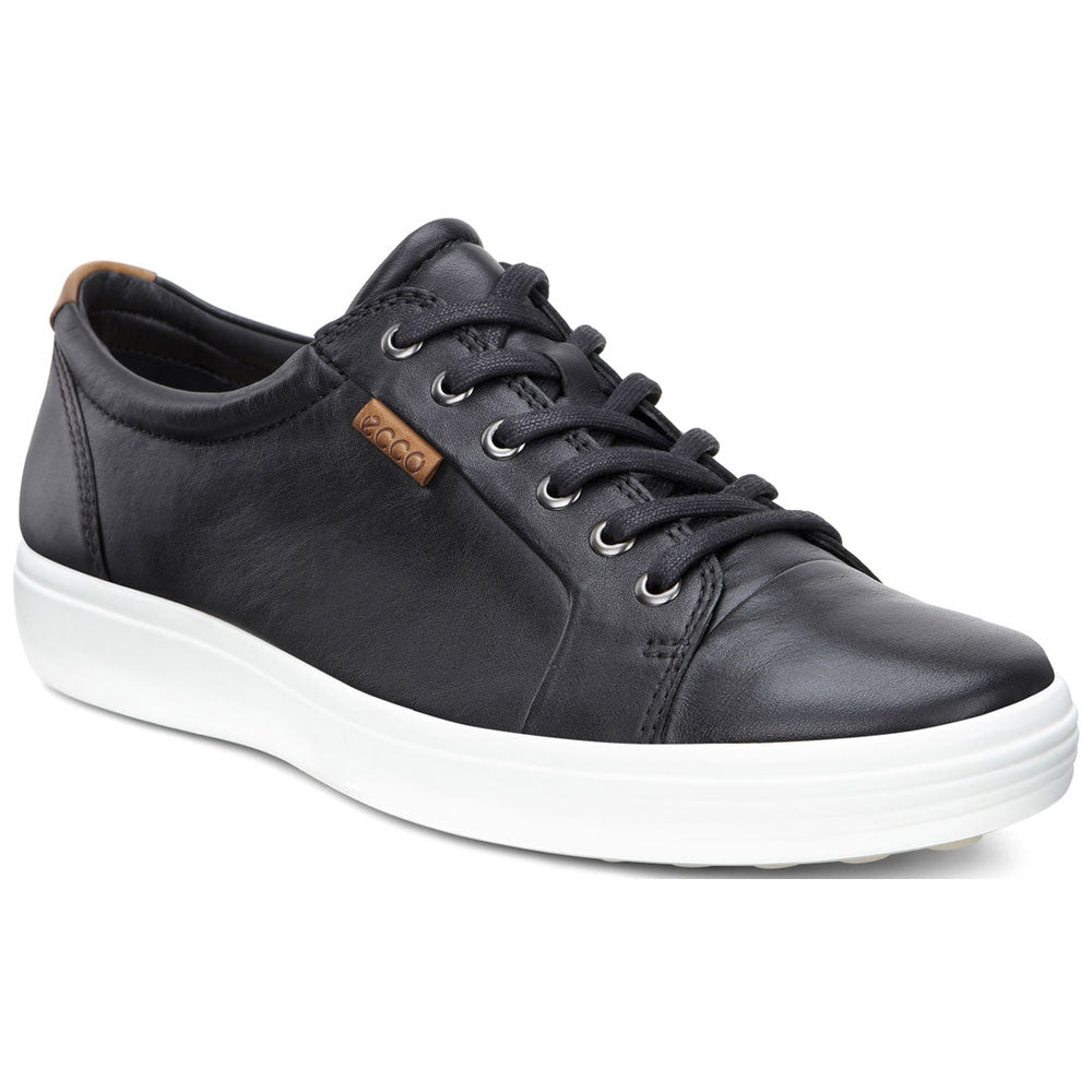 ECCO Men's Soft 7 Sneaker in Black Leather at Mar-Lou Shoes