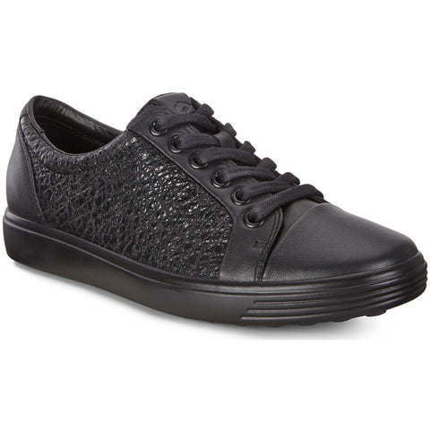 ECCO Women's Soft 7 Lace in Black Leather at Mar-Lou Shoes
