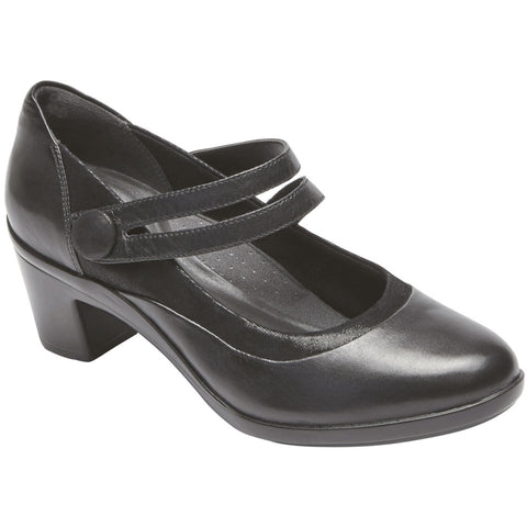 Aravon Lexee Mary Jane Heel in Black Leather at Mar-Lou Shoes