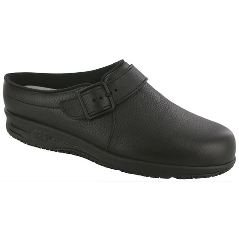 SAS Clog in Black Leather at Mar-Lou Shoes