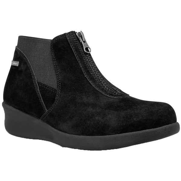 Aravon Laurel Waterproof Bootie in Black Suede at Mar-Lou Shoes