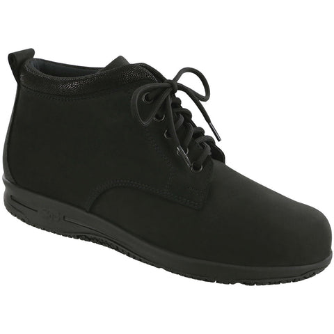 SAS Gretchen Chukka Water-Resistant Boot in Black/Moondust Leather at Mar-Lou Shoes