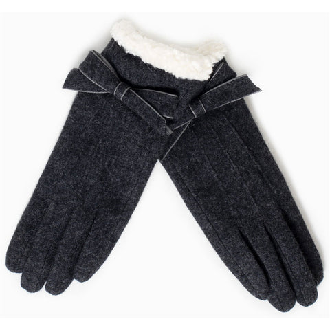 Look by M Cashmere Blended Shearling Trimmed Ribbon Gloves in Dark Charcoal at Mar-Lou Shoes