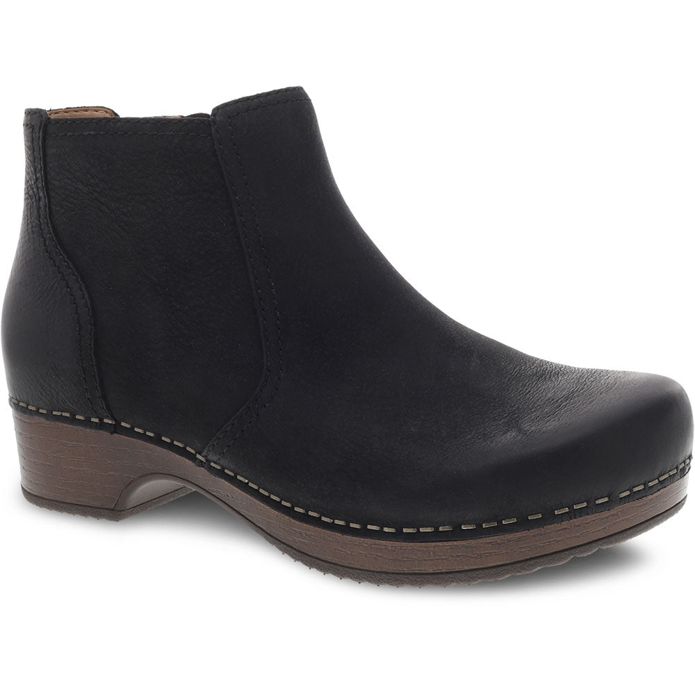 Dansko Barbara Bootie in Black Burnished Nubuck at Mar-Lou Shoes