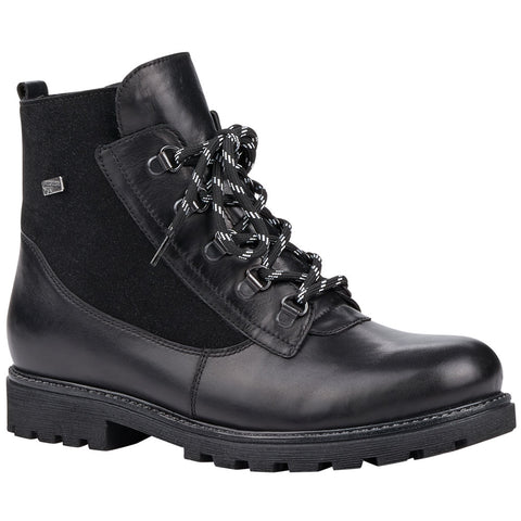 Remonte D7461 Water-Resistant Boot in Black Leather at Mar-Lou Shoes