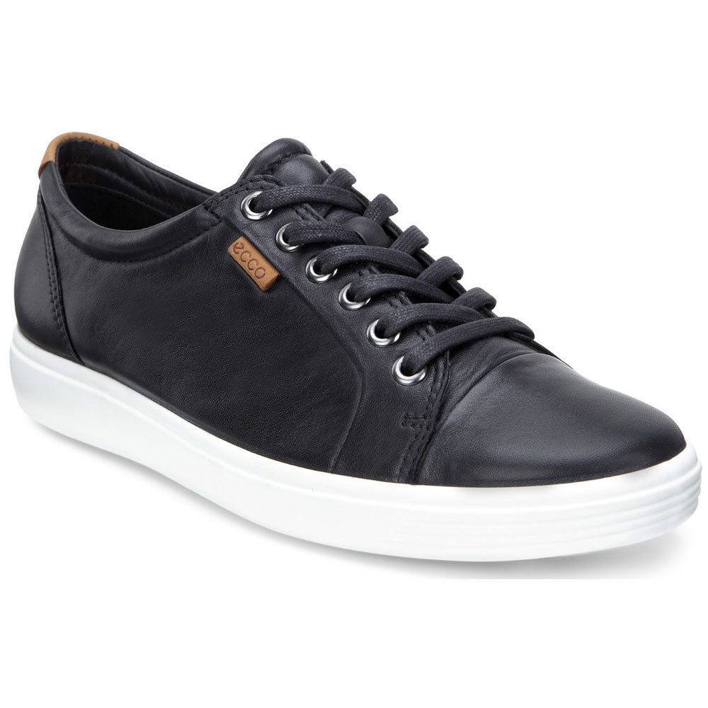 ECCO Women's Soft 7 Sneaker in Black Leather at Mar-Lou Shoes