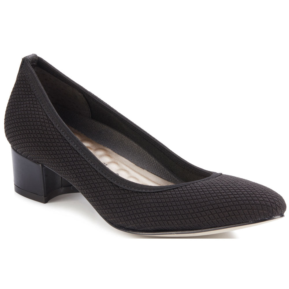 Walking Cradles Hanna Heel in Black Textured Stretch Fabric/Black Leather at Mar-Lou Shoes