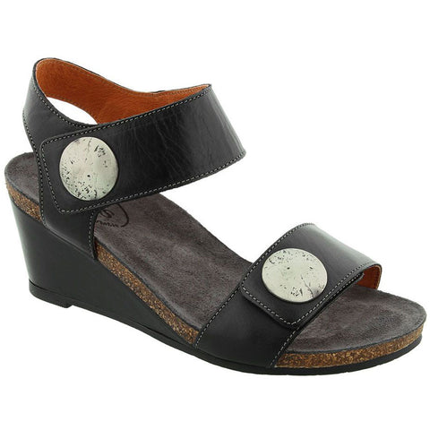 Taos Carousel 2 Wedge Sandal in Black Leather at Mar-Lou Shoes