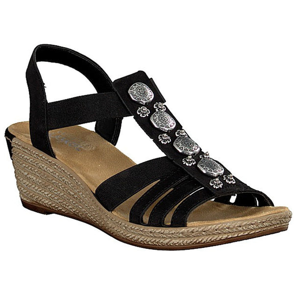 624B4 Sandal in Black Leather