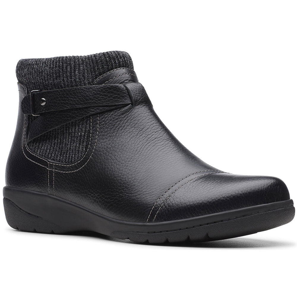 Clarks Cheyn Kisha Bootie in Black Leather at Mar-Lou Shoes