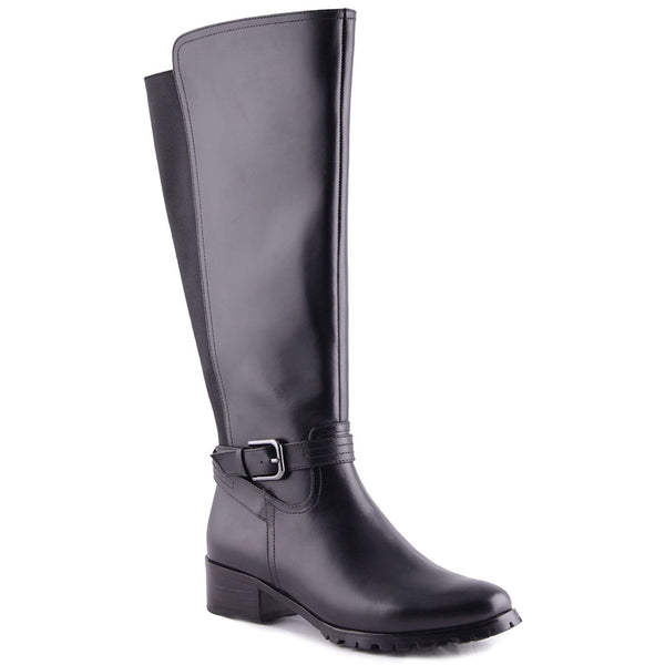 Kerry Wide-Shaft Waterproof Boot in Black Leather