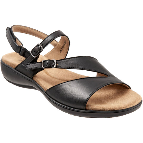 Trotters Riva Sandal in Black Leather at Mar-Lou Shoes