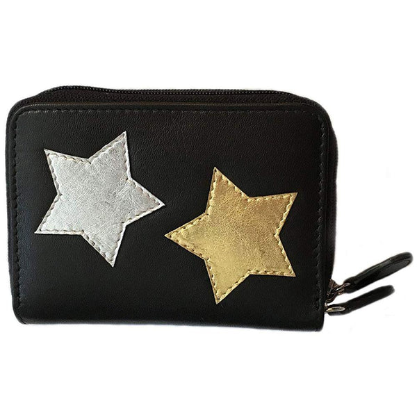ILI New York 7114 Accordian Credit Card Holder in Black Leather with Stars at Mar-Lou Shoes