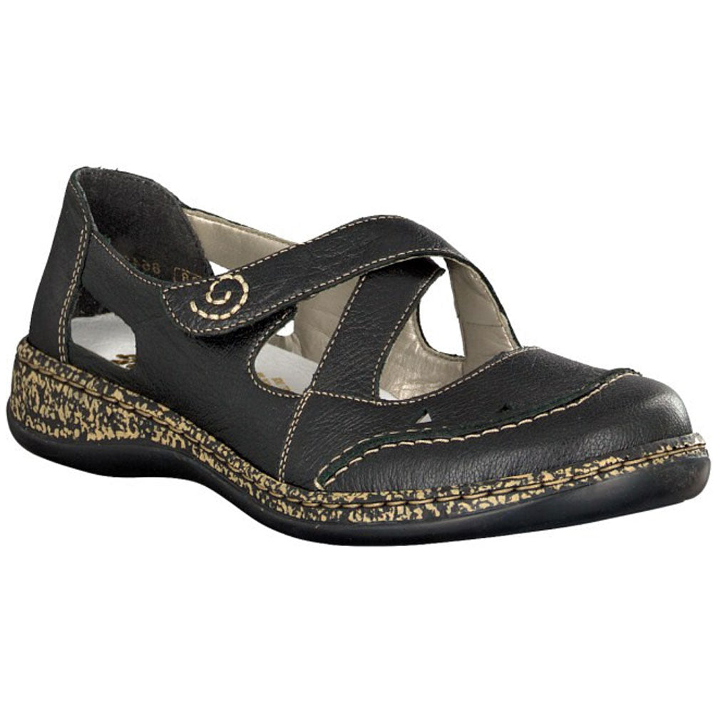 Rieker Daisy 55 in Black Leather at Mar-Lou Shoes