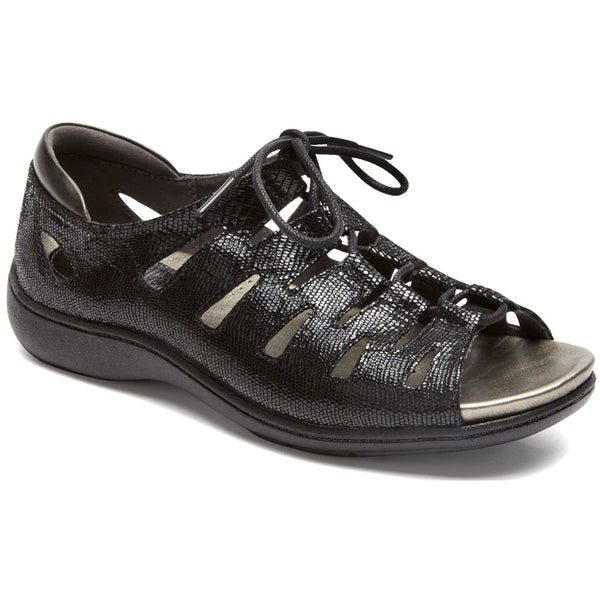 Aravon Bromly Ghillie Sandal in Black Leather at Mar-Lou Shoes