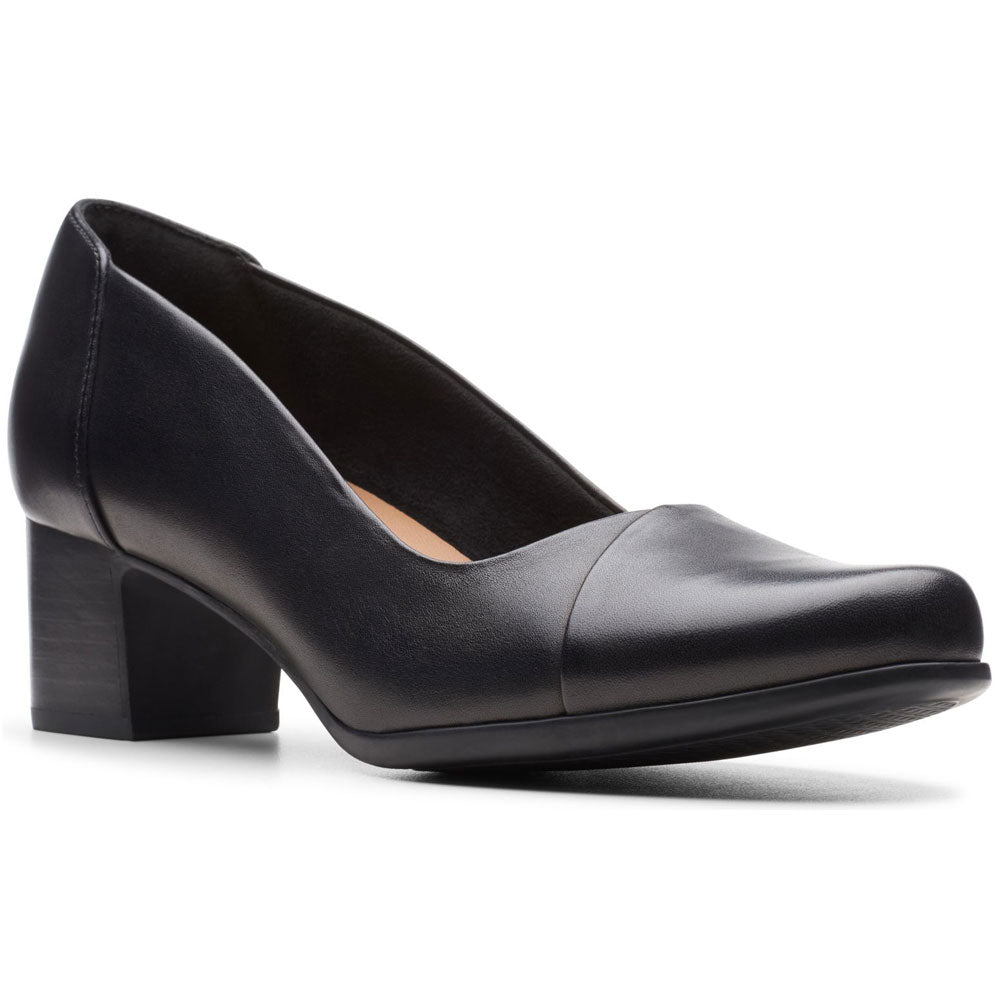 Clarks Un Damson Step Heel in Black Leather at Mar-Lou Shoes