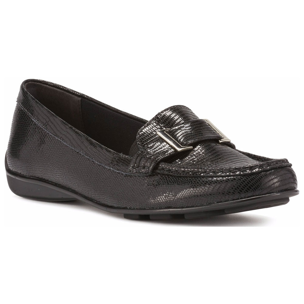 March in Black Patent Lizard Leather