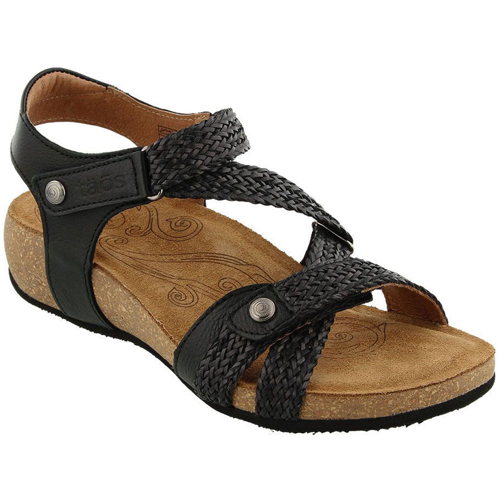 Taos Trulie Sandal in Black Leather at Mar-Lou Shoes
