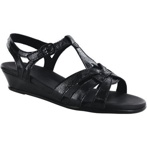 SAS Aurora Sandal in Carbon Black Leather at Mar-Lou Shoes
