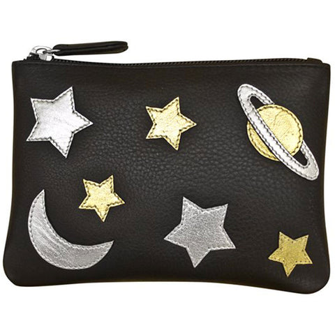 ILI New York 6527 Zip Pouch in Black Leather with Stars and Planets at Mar-Lou Shoes