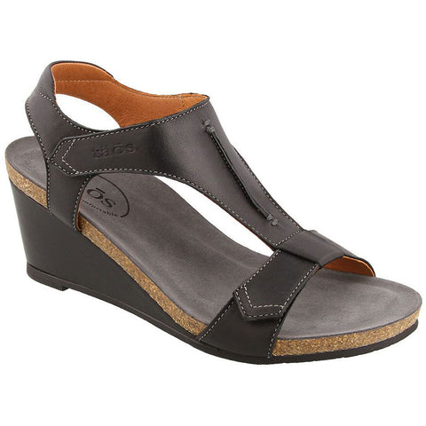Taos Sheila Wedge Sandal in Black Leather at Mar-Lou Shoes