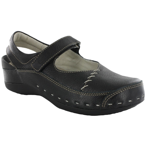 Wolky Strap Cloggy in Pebbled Black Leather at Mar-Lou Shoes