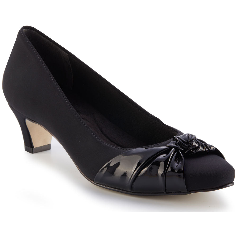 Walking Cradles Isla Heel in Black Micro/Patent at Mar-Lou Shoes