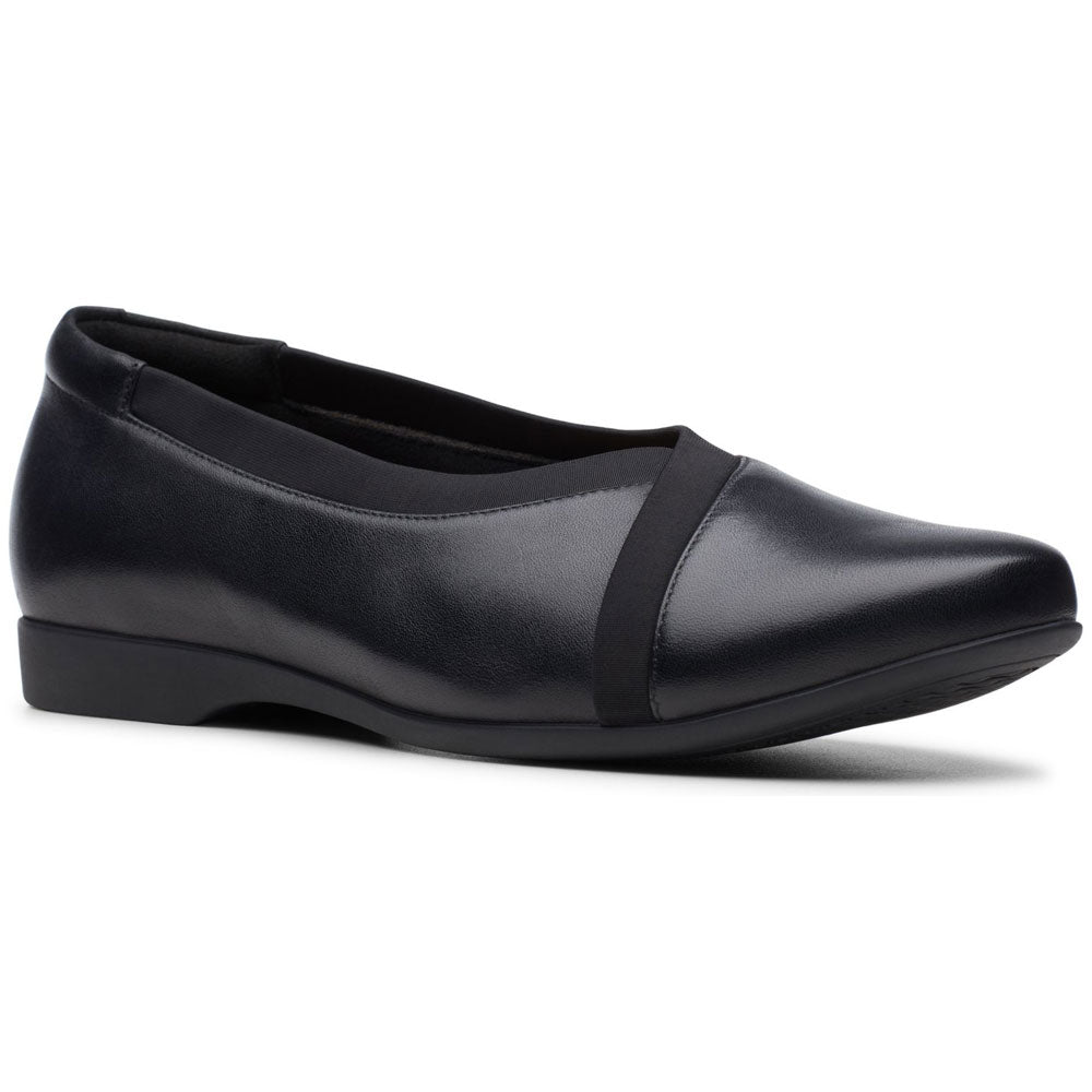 Clarks Un Darcey Ease in Black Leather at Mar-Lou Shoes