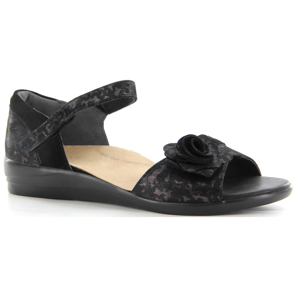 Delta Sandal in Black Metallic Leopard Suede